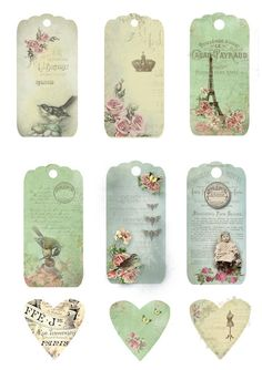 Free Printable Vintage Gift tags or Use them as bookmarks, invites, labels, etc.
