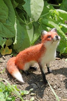 Needle felted, Red Fox, Small Soft Sculpture