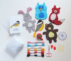 Woodland Animals Sewing Craft Kit for Kids  -  This adorable arts & crafts sewing kit compels kids to drop their electronic games and learn the timeless craft of hand-sewing and creative play. A wonderful shared craft activity for children. Each craft project offers hours of unsupervised, artful fun for girls and boys ages 7 to 12 years old.