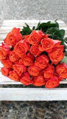 Send a beautiful bouquet of orange roses.
