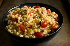 Fresh Corn and Tomato Salad - All-American of July BBQ Recipes - Pictures - Chowhound Corn Tomato Salad, Tomato Salad Recipes, Onion Salad, 500 Calories, Ceviche, Picnic Foods, Picnic Recipes, Picnic Ideas, Dinner Recipes