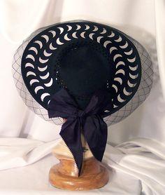 FREE SHIPPING Vintage Crescent Moon Cutouts Black Lace Big Satin Bow Wide  Brim Portrait Hat 30s a291f9f41931