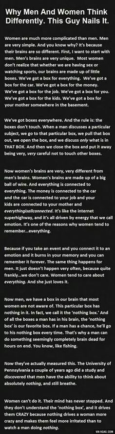 "Men vs Women's Brains. I personally can""t find a better explanation than this."