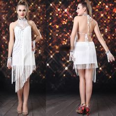 White Flapper Roaring Twenties 20s Style Backless Cocktail Event Dress  SKU-401186