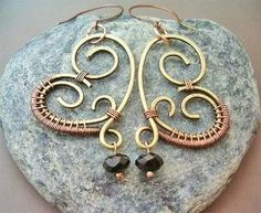 Wire Wrapped Heart Earrings by wanting