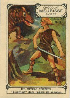 Les Operas celebers 'Siegfried - dans l'opera de Wagner. Chocolat Meurisse anvers. Collectable card.