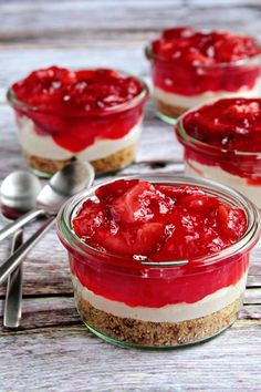 A classic recipe for Strawberry Pretzel Salad served in individual Weck Jars.