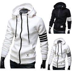 Mens Black and White Zip-Up Hoodie