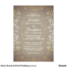 Baby's Breath Gold Foil Wedding Card