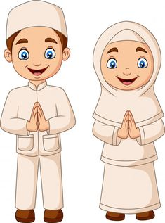 Happy Muslim Kid Cartoon On White Background - Happy muslim kid cartoon on white background Premium Vector Informations About Happy Muslim Kid Cart - Cartoon Cartoon, Couple Cartoon, Couple Musulman, Caricature, Bunting Template, Certificate Background, Quran Wallpaper, Islamic Cartoon, Eid Cards