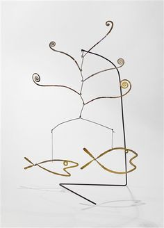 View FISH AND WATER WEEDS By Alexander Calder; brass, wire, and string; 20 by 15 by 8 in. Access more artwork lots and estimated & realized auction prices on MutualArt. Fish Sculpture, Modern Sculpture, Alexander Calder Sculptures, Mobile Craft, Mobiles, Sculpture Projects, Kinetic Art, Hanging Mobile, Wire Art