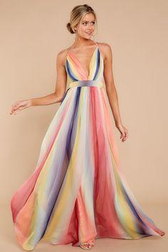 Wherever It Takes Me Rainbow Stripe Maxi Dress. Striped Maxi DressesChiffon  ... 411275fc4