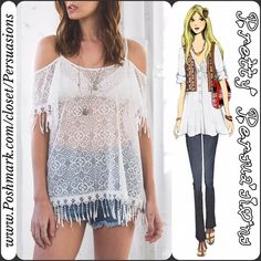 SALE 🌻NWT White Lace & Fringe Cold Shoulder Top NWT White Lace & Fringe Cold Shoulder Boho Top  Available in sizes S, M, L  Features  • lightweight, breathable & soft material  • cold shoulders • white floral lace • fringe at end of sleeves & bottom hem  • adjustable spaghetti straps  • open neckline   Bundle discounts available  No pp or trades  Item # 1o2-6-1-0320WLFT Pretty Persuasions Tops