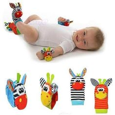 nice 1Pair Baby Kids Infant Soft Toy Gift Animal Hand Wrist Bells Foot Sock Rattle Y2 - For Sale