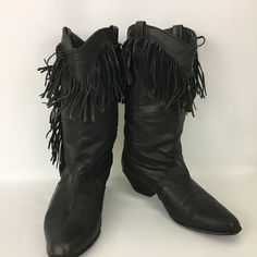 Dingo Vintage Women's Black Leather Fringe Western Boot Size 9 Cowgirl Halloween #Dingo #CowboyWestern #Casual
