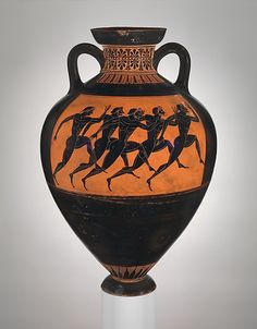 GREECE | Terracotta Panathenaic prize amphora, ca. 530 B.C. Greek, Attic. The Metropolitan Museum of Art, New York. Rogers Fund, 1914 (14.130.12) #WorldCup