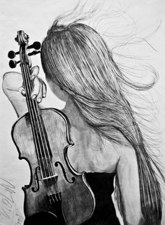 Music girl drawing people 48 ideas for 2019 Music Drawings, Dark Art Drawings, Girly Drawings, Pencil Art Drawings, Violin Drawing, Violin Art, Girl Drawing Sketches, Art Drawings Sketches Simple, Girl Sketch