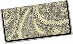 Checkbook Cover - Black and Cream paisley - a cardstock and vinyl check book cover 10a  $6.25