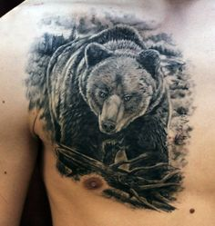 A Thorough Gallery of Images for your Bear Tattoo designs and ideas. We Also explore the meaning and history of bear tattoos. Top Tattoos, Body Art Tattoos, Tattoo Drawings, Tattoos For Guys, Tree Tattoo Arm, Chest Tattoo, Grizzly Bear Tattoos, Black Bear Tattoo, Outdoor Tattoo
