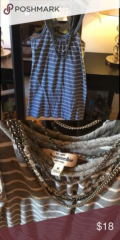 Cute Abercrombie Braided Strapped Sun Dress Super Cute Abercrombie Spaghetti Strapped Braided Gray Stripped Dress. Sz Medium but fits like a small Abercrombie & Fitch Dresses Mini