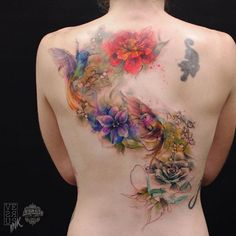 Beautiful watercolor back piece by Alberto Cuerva
