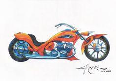 Motocicleta, Lápis de cor A3