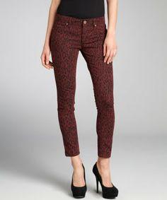 DL1961 PREMIUM DENIM INC: merlot stretch cheetah print denim 'Emma' legging jeans
