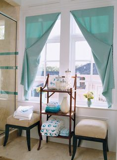 Window treatments do not have to be traditional.  This is a very interesting approach.  I would like to see this done with a print rather than a solid or perhaps with banding on the leading edge.  It is a different approach.