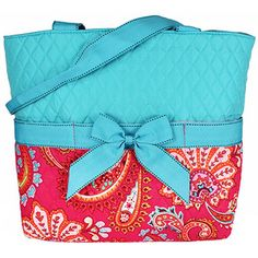 Paisley Spice Quilted Diaper Bag With Turquoise Trim #OHQ2121-TURQ  (Shown with Optional Personalization)