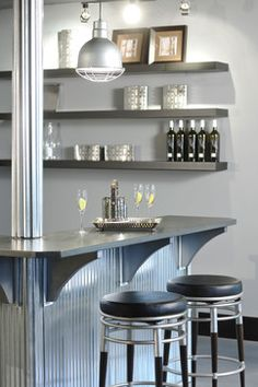 tin bar material wire stools and clean contemporary look