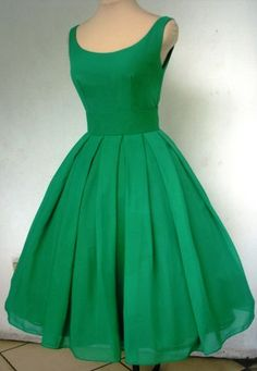 Tea length 50s style dress in emerald chiffon, Made to Order! | eBay