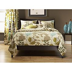 The bedding and curtains that I want. I love this green/blue brown look.