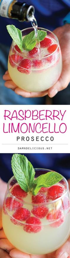 Raspberry Limoncello Prosecco - Amazingly refreshing, bubbly, and sweet - a perfect summer cocktail that you can make in just 5 minutes! and Drink ideas alcohol Raspberry Limoncello Prosecco Refreshing Drinks, Yummy Drinks, Yummy Food, Tasty, Fancy Drinks, Cocktail Recipes, Cocktail Food, Margarita Recipes, Recipes Dinner