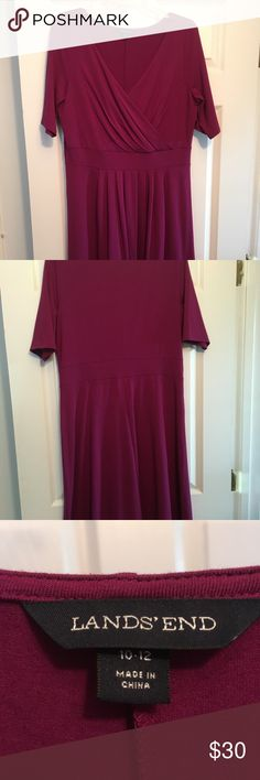 NWOT Fuschia plum dress. Never worn other to try on. Great condition. Soft, comfy. Lands' End Dresses Midi