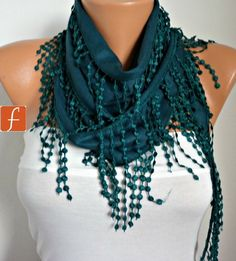 Emerald Green Pashmina Scarf  Cowl Bridesmaid Gift For by anils