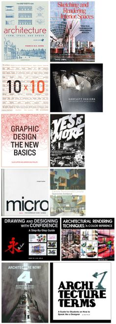RECOMMENDED BOOKS FOR ARCHITECTURE Continued… Alright, here is a short list of the books I have at my desk right now. – Architecture : Form Space and Order by Francis Ching This is a very common introductory book within the field of architecture...