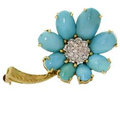 VAN CLEEF & ARPELS Turquoise Diamond Yellow Gold Flower Brooch | From a unique collection of vintage brooches at http://www.1stdibs.com/jewelry/brooches/brooches/