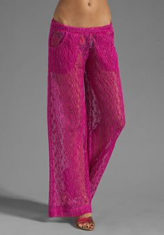 Trina Turk Boho Crotchet Cover Pant in Berry