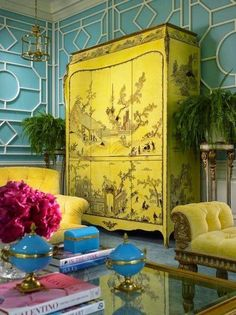 Canary yellow chinoiserie cabinet inspired by  Rihanna's Met Gala look.