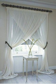 Light and wispy curtains, with dark under.