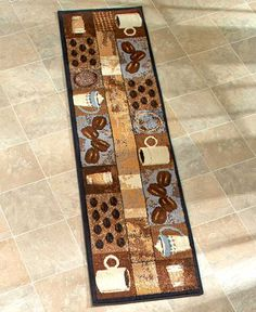 Coffee Themed Kitchen Rugs Accent Runner Area Stain Resistant