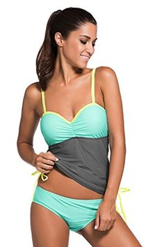 Women's Tankini Swimsuits - Chase Secret Womens Summer Colorblock Tankini Top and Bottom Set Swimsuit -- Check out this great product.