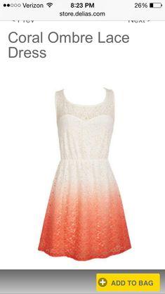 Delia's Coral Ombré Lace Dress 6th Grade graduation