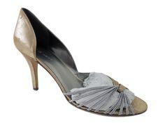Nine West Women's Rocha d'Orsay Pumps Gold Silver Leather/Textile Size 11 M #NineWest #PumpsClassics