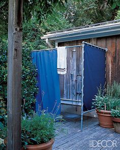 Because My Outdoor Shower Must Have Hot Water Running to it - (I like the marine tarp; good way to easily close in  shower that's in a not-so-private location)