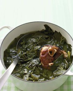 braised collared greens - can use a parmesan rind instead of ham hock