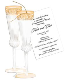 Champagne Flutes Die-Cut Invitations