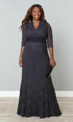 Plus size formal dress with sleeves