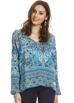 Bluse turkis mønster 117M-986 Odyssey Blouse - misty turquoise