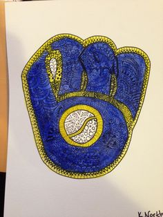 Sharpie and watercolor zentangle of the retro Brewers logo. #zendoodle #zentangle #sharpieart #diy #art #watercolor #sharpie #Brewers #Milwaukee #Wisconsin #retro #MillerPark